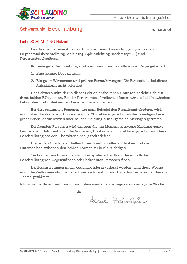 elternbrief - Erlebniserzahlung Beispiel
